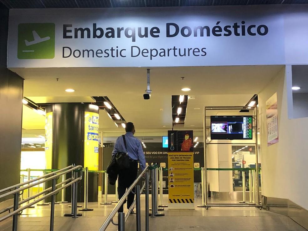 Sistema possui sensores faciais que detectam rosto do passageiro no embarque do Aeroporto de Brasília — Foto:  Inframerica/Divulgação