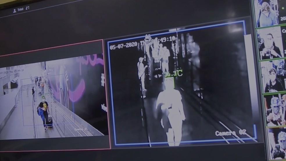Sistema possui sensores faciais que detectam o rosto do passageiro no embarque do Aeroporto de Brasília — Foto: Inframerica/Divulgação